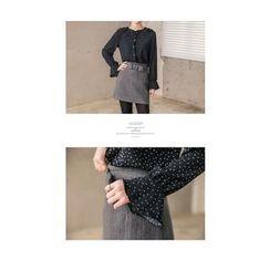 Seoul Fashion - Frilled Dotted Chiffon Blouse