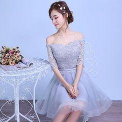 名贵风格 - 露肩迷你礼服裙