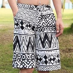 BOIE - Patterned Drawstring Swim Shorts