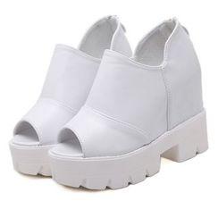 Anran - Peep Toe Chunky Heel Hidden Wedge Sandals