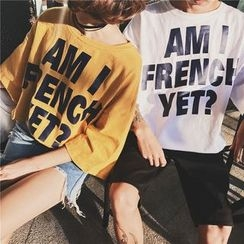 Evolu Fashion - Couple Matching Lettering 3/4-Sleeve T-Shirt