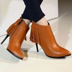 Kireina - Genuine Leather Fringed Ankle Boots