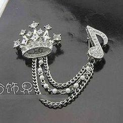 Trend Cool - Rhinestone Crown & Music Note Brooch