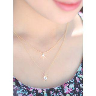 kitsch island - Rhinestone Pendant Layered Necklace