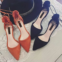 QQ Trend - Lace Up Pointy Pumps