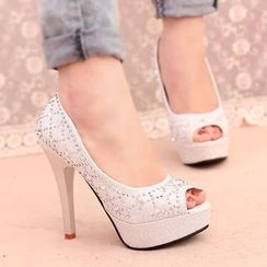 IYATO - Rhinestone Peep-toe High-heel Pumps