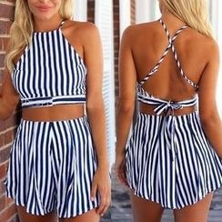 Flobo - Set: Cropped Striped Tank Top + Shorts
