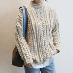 NANING9 - Mock-Neck Pompom Cable Sweater