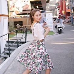 Cherryville - Flower Patterned Suspender Skirt