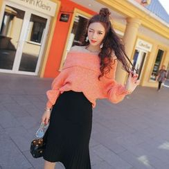 Tang House - Lantern-Sleeve Off-Shoulder Sweater
