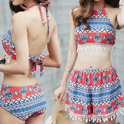 Sweet Splash - 套裝: 印花鉤織邊坦基尼 + 印花短褲