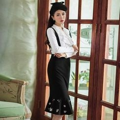 GU ZHI - Embroidered Ruffle-Hem Jumper Skirt