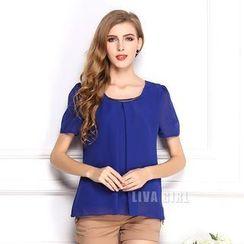 LIVA GIRL - Short-Sleeve Chiffon Top