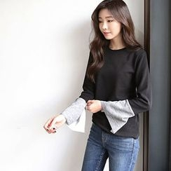 Hello sweety - Slit-Sleeve Contrast-Trim Top