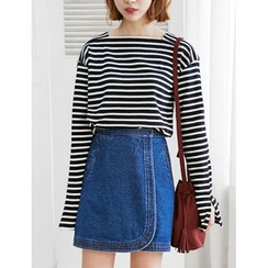 FROMBEGINNING - Wrap-Front Denim Mini Skirt