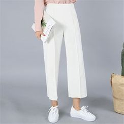 clicknme - Band-Waist Pleated Wide-Leg Pants