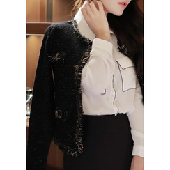 MyFiona - Frayed-Edge Glittered Tweed Jacket