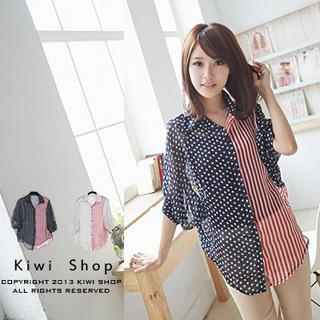 Kiwi Shop - Flag-Print Bubble-Sleeve Chiffon Blouse