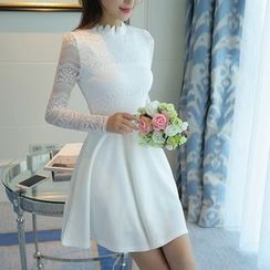 Emeline - Lace Panel Long-Sleeve A-Line Dress