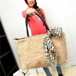 Donini Bags - 人造皮毛購物袋連豹紋印花圍巾