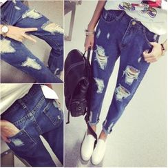 Angel Shine - Distressed Straight-Cut Jeans
