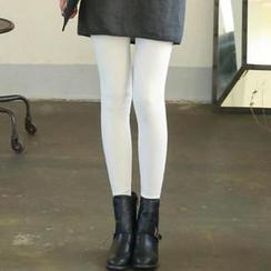 GLAM12 - Brushed Fleece Lined Contrast-Trim Leggings