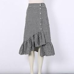 V-MAY - Check Ruffle-Hem Buttoned Skirt