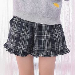 Moriville - Ruffle Trim Plaid Shorts