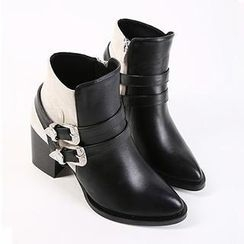Mancienne - Belted Panel Ankle Boots