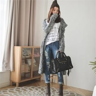 ERANZI - Hooded Gradient Long Cardigan