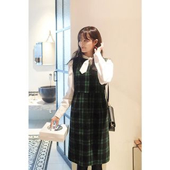 CHERRYKOKO - Sleeveless High-Waist Plaid Shift Dress