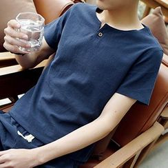 Gurun Vani - Split-neck Linen Short-Sleeve T-shirt