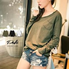 PUFII - V-Neck Pocket T-Shirt