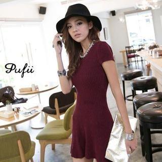 PUFII - Slim-Fit Knit Dress