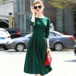 Queen Mulock - Elbow-Sleeve Dotted Dress