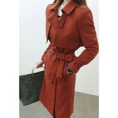 ATTYSTORY - Double-Breasted Trench Coat with Sash