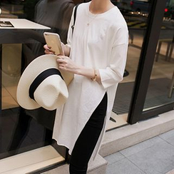 Ashlee - 3/4-Sleeve Slit Long T-Shirt