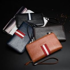 BagBuzz - 條紋貼布繡長款拉鏈錢包