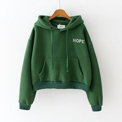 Sunny Day - Lettering Embroidered Cropped Hoodie