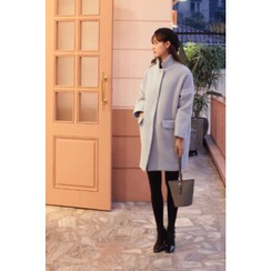 CHERRYKOKO - Stand-Collar Wool Blend Coat