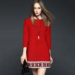 Queen Mulock - 3/4-Sleeve Printed Wool Blend Dress