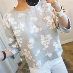 stylebyyam - Flower-Printing T-Shirt