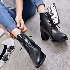 楊董 - 粗跟繫帶及踝靴