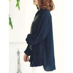 LOLOten - Pleat-Back Chiffon Blouse with Scarf