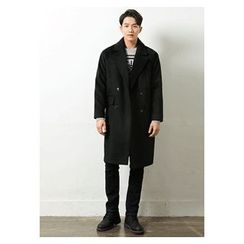 HOTBOOM - Double-Breasted Wool Blend Long Coat
