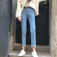 Jeans Kingdom - 水洗直腿不規則下襬牛仔褲