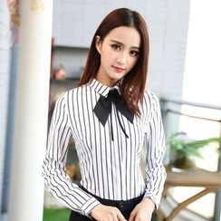 Eferu - Tie Neck Striped Dress Shirt