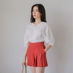 WITH IPUN - V-Neck 3/4-Sleeve Lace Top