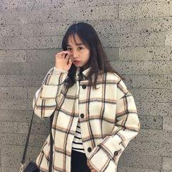 monroll - Plaid Long Woolen Coat