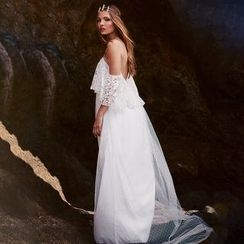 Hotprint - Off Shoulder Lace Wedding Gown